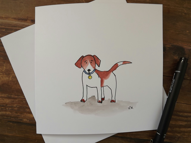 Hand drawn and painted greetings card, blank - Jack Russell Dog