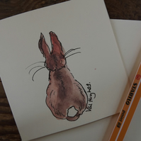 Hand drawn and Painted Cute Little Bunny Rabbit Card, watercolour greetings card