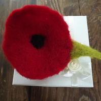 Needle Felted Poppy Brooch with green leaf.  Gift Boxed