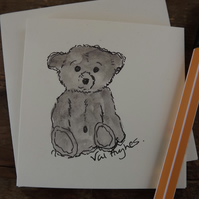 Hand drawn and Painted Cute Little Teddy Bear Card, watercolour greetings card