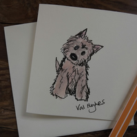 Original water colour card - cute dog!