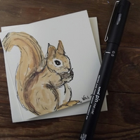 Hand drawn and Painted Cute Little Squirrel Card, watercolour greetings card