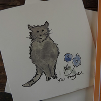 Original water colour card - cute cat