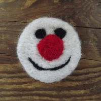 Snowman, needle felted brooch