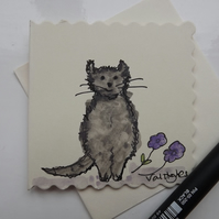 Original Watercolour of little grey cat with purple flowers - Greetings Card