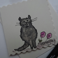 Original Watercolour of little grey cat with pink flowers - Greetings Card