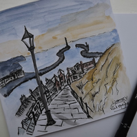 Original Watercolour of Whitby Steps - Greetings Card