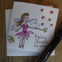 Original Watercolour of little fairy granting love heart wishes- Greetings Card