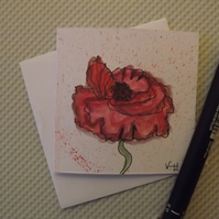 Hand drawn and Painted Red Poppy Card, watercolour greetings card