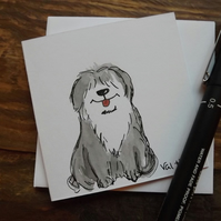 Hand drawn and Painted Cute Old English Sheepdog, watercolour greetings card