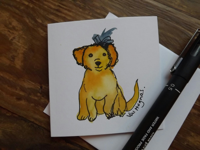 Hand drawn and Painted Cute Little Dog Card, watercolour greetings card