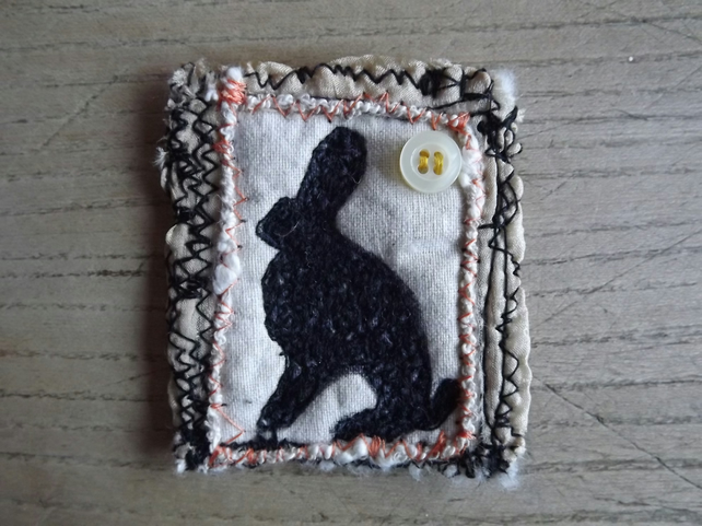 Textile Brooch, Embroidered with Hare Design