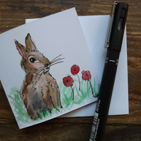 Hand drawn and Painted Sweet Little Bunny Rabbit Greetings Card