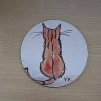 Little Ginger Cat inspired coaster from my own drawings