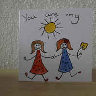 "Quirky little ""you are my sunshine"" character cards"
