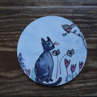 Little Grey Cat inspired coaster from my own drawings