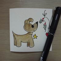 Hand drawn and Painted Cute Little Dog Card, Christmas card
