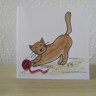 Original Watercolour of little ginger cat playing - Greetings Card