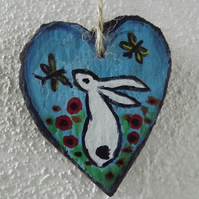 Slate heart - Painted bunny - handpainted with acrylics