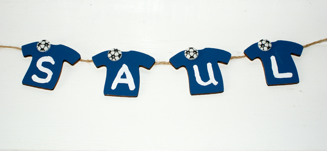 Childrens football themed personalised name door plaque any name available
