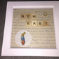 'New Baby' Peter Rabbit scrabble letter box frame picture gift