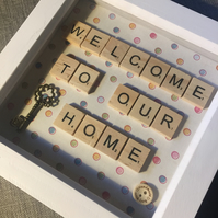 'Welcome to our home' scrabble letters picture