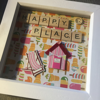 'My happy place' beach hut scrabble tiles picture