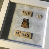 'Mr & Mrs' scrabble tile picture gift
