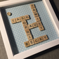 Family personalised scrabble tile letter picture- up to 6 names