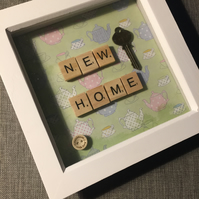 'New Home' scrabble picture gift