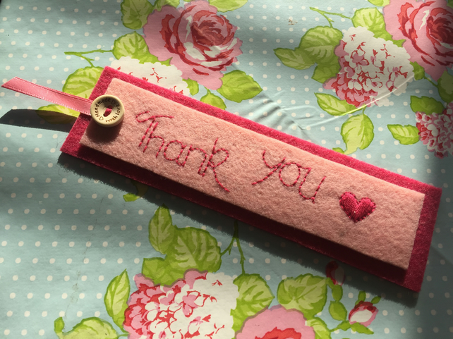 Beautiful felt bookmark gift embroidered with 'Thank you'
