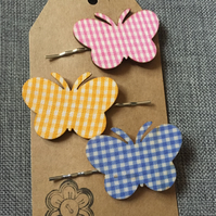 Set of 3 ginham butterfly hair slides in pink,yellow and blue