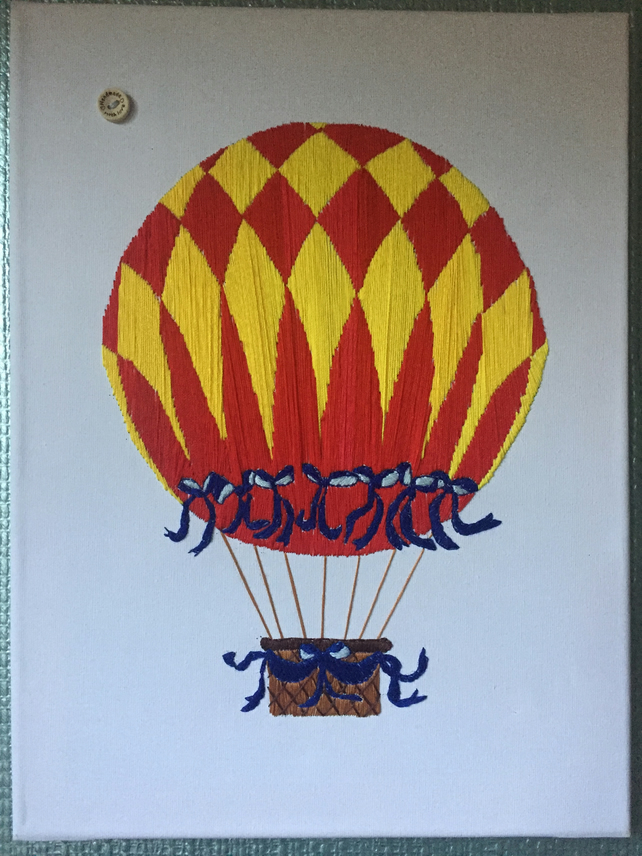 "Hand embroided  hot air balloon on a canvass 11.8""x16"""
