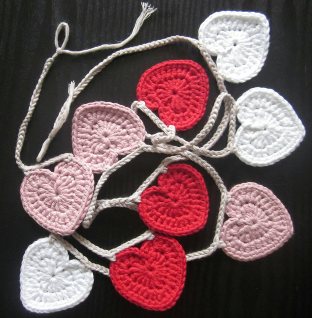 Fairly traded cotton crochet heart bunting.