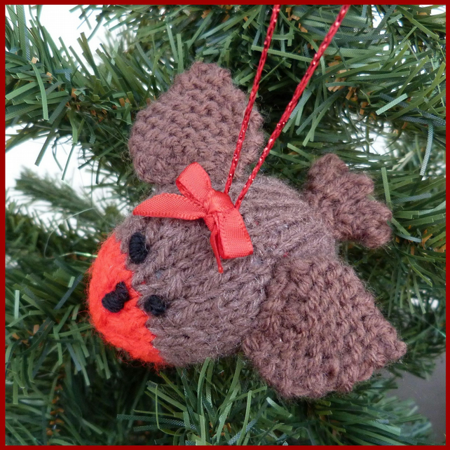 1 Knitted Christmas robin decoration - Folksy