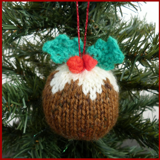 1 Hand knitted Christmas pudding decorations - Folksy