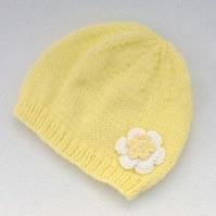 3-6 months pale yellow baby beanie hat