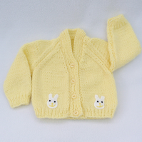 Hand knitted premature baby cardigan in lemon