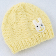 Hand knitted premature baby  beanie hat in lemon.