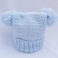 Pale Blue 3-6 months baby hat double pom pom teabag style