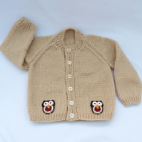 Beige hand knitted baby cardigan  6-12 months