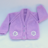 Lilac knitted baby cardigan 0-3 months