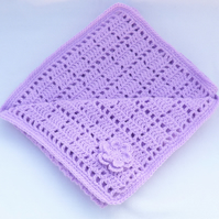 Lilac hand crochet baby blanket.