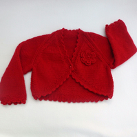 Red hand knitted baby bolero cardigan 3 to 6 months.
