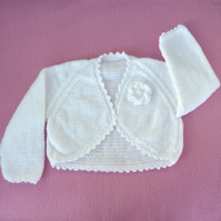 White  hand knitted baby bolero cardigan 1 to 2  years..