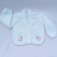 White hand knitted baby cardigan 0-3 months
