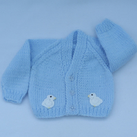 Hand knitted premature baby cardigan in pale blue