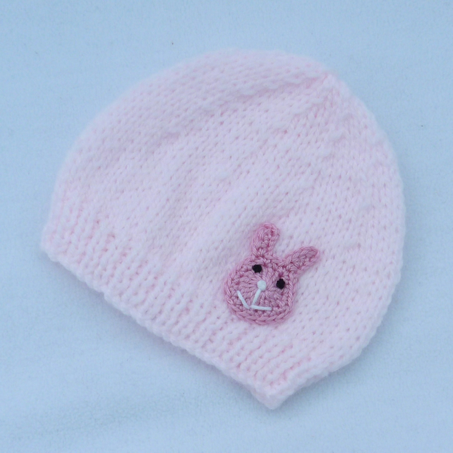 Hand knitted pale pink premature baby  beanie hat.