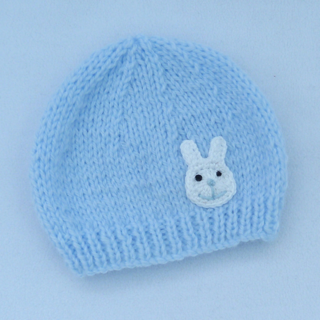 Hand knitted premature baby  beanie hat in pale blue.