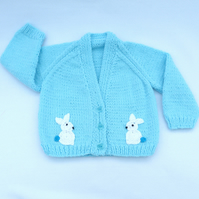 Turquoise hand knitted baby cardigan 3 to 6 months